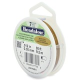 "Beadalon 7 Strand Beading Wire 0.12"" Diameter 30ft Spool (9.2 meters) - Satin Gold"