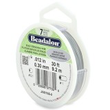 "Beadalon 7 Strand Beading Wire 0.12"" Diameter 30ft Spool (9.2 meters) - Satin Silver"
