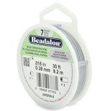 "Beadalon 7 Strand Beading Wire 0.15"" Diameter 30ft Spool (9.2 meters) - Satin Silver"