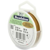 "Beadalon 7 Strand Beading Wire 0.18"" Diameter 30ft Spool (9.2 meters) - Satin Gold"