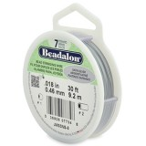 "Beadalon 7 Strand Beading Wire 0.18"" Diameter 30ft Spool (9.2 meters) - Satin Silver"