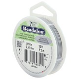 "Beadalon 7 Strand Beading Wire 0.20"" Diameter 30ft Spool (9.2 meters) - Satin Silver"