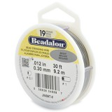 "Beadalon 19 Strand Beading Wire 0.12"" Diameter 30ft Spool (9.2 meters) - Bright"