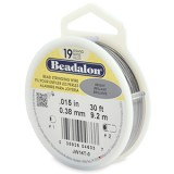 "Beadalon 19 Strand Beading Wire 0.15"" Diameter 30ft Spool (9.2 meters) - Bright"
