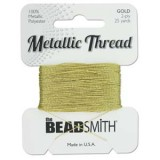 Beadsmith Metallic Thread 25 YD Card - Gold