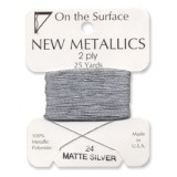 Beadsmith Metallic Thread 25 YD Card - Matte Silver