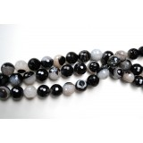 Black Agate 18mm Round Facet