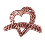 TierraCast Antique Copper (Plated) Hammertone Heart Clasp Set 22x18.5mm (1)